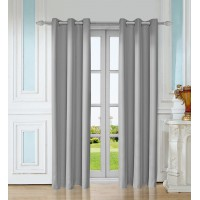 Leeva 99% Blackout Cotton and Linen Elegant Solid Window Curtains,Set of 2
