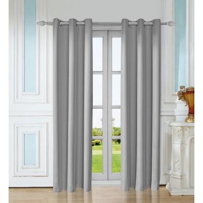 Leeva 99% Blackout Cotton and Linen Elegant Solid Window Curtains,Set of 2