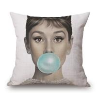 Leeva Square Decorative Cotton Linen Throw Pillow Case Cushion Cover, Nautical Anchor